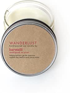 KarmaLit Wanderlust Hand-Poured Soy Candle, 4 oz (Hints of Lavender and Sage) - Handmade in Denver, CO