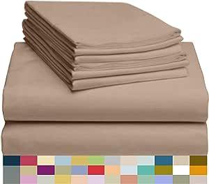 LuxClub 6 件套竹纤维床单套装 45.72 cm 深套口床单环保,无皱,低*性,*,吸湿抗褪色,丝滑,环保产品 浅卡其色 全部 LUXBAMBOO-6PC-ATJ-LTKHAKI-FU-FL