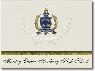 Signature Noticements Manley Career Academy High School (Chicago, IL) 毕业公告,总统风格,25 只装,带金色和蓝色金属箔印章