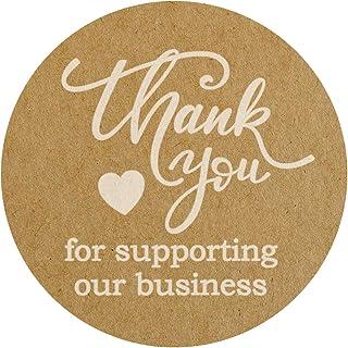 """500 张 Thank You for Support Our Business""""贴纸 3.81 cm 圆形白色油墨印刷在棕色牛皮纸上。"""
