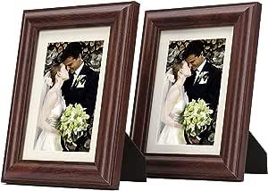 5x7 相框 - 象牙色垫适合 4x6 图片- 画架,锯齿挂钩,旋转标签 - 桌面/墙壁显示 - 宽模制 - 真玻璃 - 光滑表面 Red Walnut 5X7