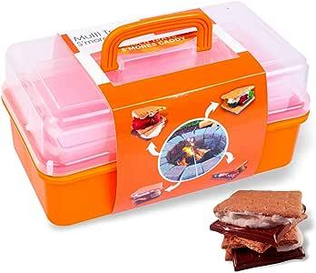 SUMPRI 吸*罐带两个折叠托盘 - 保持您的棉花糖和烧烤棒均位于同一位置 - *熏熏蒸*器和火坑配件的完美套件