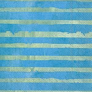 Boston International 鸡尾酒饮料纸巾 Sunday Lakeside Stripe 5 x 5-Inches C021100
