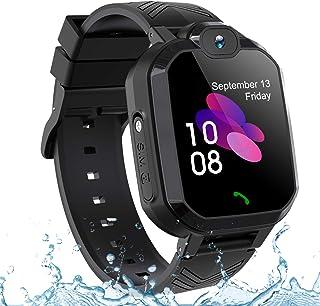 儿童 GPS 智能手表手机 IP67 防水,男孩女孩 4G 2G 手表带 GPS 定位器 双向呼叫 SOS 语音聊天相机计步器闹钟运动手表礼物 02-2G LBS Waterproof Black