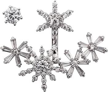 YACQ 珠宝 CZ 方晶锆石雪花耳环饰钉夹克女士圣诞礼物