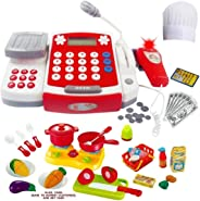 Toy Cash Register with Scanner - Microphone - Calculator - Play Pots and Pans - Cutting Play Food & Chef Hat | Play Restauran