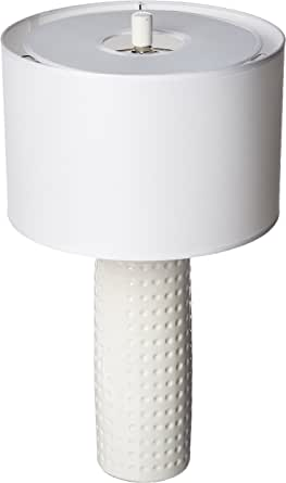 """Lite Source LS-21979WHT Table Lamp with White Fabric Shades, 24.5"""" x 13.75"""" x 13.75"""", White 需配变压器"""