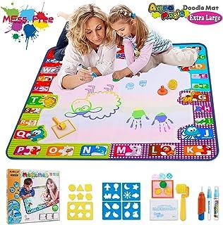 Aqua Doodle Mat 儿童玩具大号教育用水图垫 学步儿童画板,带 2 支魔法笔、1 支魔法刷和男孩女孩绘图配件尺寸 30.3 x 30.3 英寸