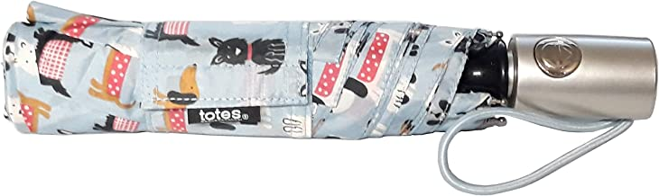 totes 自动开合 NeverWet 紧凑型雨伞 43 英寸弧形,浅蓝色带一只狗