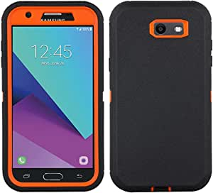 三星 Galaxy J3 2017 手机壳【重型】内置屏幕保护膜坚固的 4 合 1 坚固防摔外壳【带支架】适用于三星 Galaxy J3 2017/Galaxy J3 Emerge/Galaxy J3 PrimeKZ0282-FBA 橙色