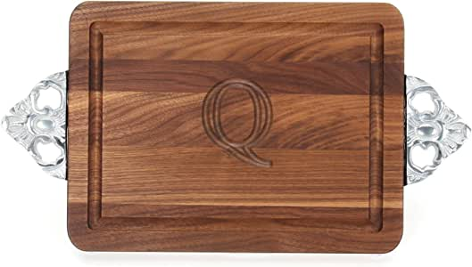 "CHUBBCO W210-SC-Q Thick Cutting Board with Scalloped Cast Aluminum Handle, 10.5-Inch by 16-Inch by 1-Inch, Monogrammed""Q"", Walnut"