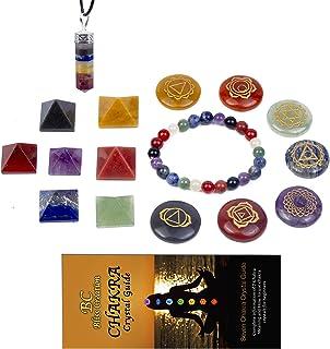 Bliss Creation *能量水晶和*石 16 件*水晶套件 - 7 脉轮石金字塔,7 个脉轮石7 英寸(约 17.8 厘米)手链,7 个哈克拉*宝石,7 个脉轮原始吊坠