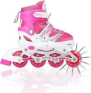 tuko 充电 LED 滑冰鞋适用于女孩再浅滚筒滑冰鞋带滚轮闪烁运动鞋