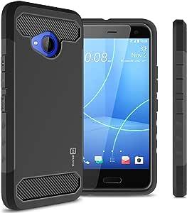 HTC U11 Life 手机壳,CoverON Arc 系列现代混合手机套碳纤维造型和哑光表面适用于 U11 Life 黑色