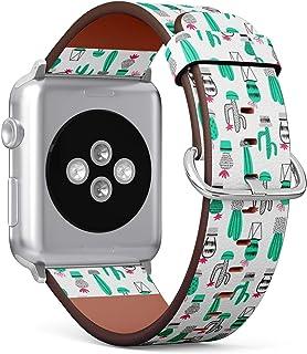 兼容苹果手表(小号 38 毫米/40 毫米)系列 1、2、3、4 - 皮革表带表带替换腕带 - 仙人掌儿童