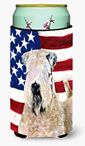USA American Flag with Wheaten Terrier Soft Coated Michelob Ultra Koozies for slim cans SS4019MUK 多色 Tall Boy