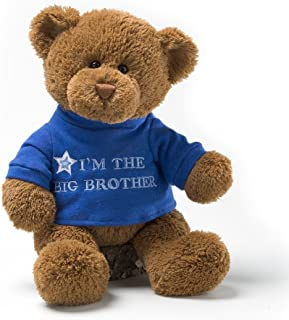 GUND 泰迪熊填充动物毛绒玩具,T恤上印有I'm the Big Brother(我是大哥哥)蓝色,12英寸/约30.48厘米