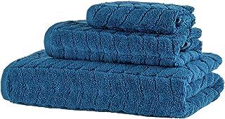 Bagno Milano 提花豪华土耳其毛巾,* 土耳其棉,速干超柔软,吸水毛绒毛巾,土耳其制造 *蓝 3 pcs Towel Set