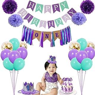 1 岁生日女孩装饰品 - *个生日服装和装饰套装,美人鱼主题 1 岁生日派对用品带粗麻布高脚椅横幅,非常适合美人鱼生日派对