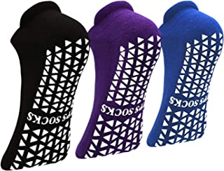 防滑防滑袜子带抓地力瑜伽普拉提杆健身,*家庭粘性拖鞋袜子适合女士男士