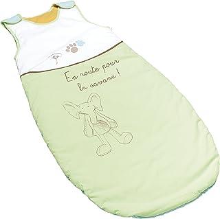 Thermobaby法国进口欧洲原产婴儿睡袋安全舒适可调节长度全棉恒温空调房中厚款防踢侧拉链可洗背心式100cm 绿色