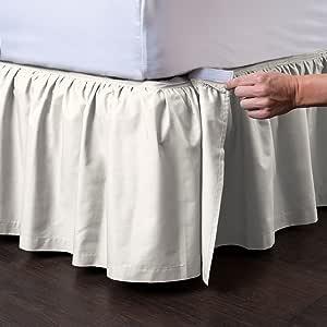 Ashton 可拆卸床裙(35.56 厘米垂布)- 易穿/易脱褶床裙 - ShopBedding 出品 奶油色 Queen - 14'' Drop 331514QCRM