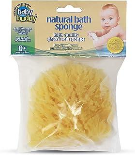 Baby Buddy 天然婴儿沐浴海绵 4 英寸柔软草海绵柔嫩肌肤,可生物降解 黄色 1包