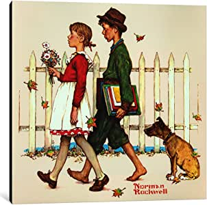 """iCanvasART 1 Piece Young Love: Walking to School Canvas Print by Norman Rockwell, 26 x 26""""/0.75"""" Deep"""