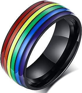 yfstyle 8 毫米彩虹不锈钢戒指 同性恋女同性恋订婚钛戒指 镀金珐琅 LGBT 乐队戒指 珠宝礼物