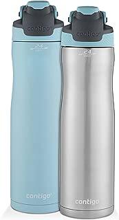 Contigo 康迪克 AUTOSEAL 保冷不銹鋼水瓶,24盎司(710毫升),不銹鋼/海藍色 & 純海藍色,2件裝