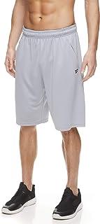 Reebok 锐步 男式网眼篮球健身和跑步短裤 带弹力抽绳腰带和口袋 - 护膝,大号