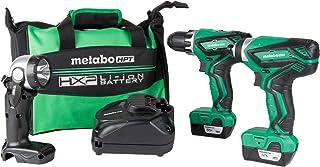 Metabo HPT 无绳组合套件,12V峰值,紧凑型驱动器和冲击驱动器,包括2-12V锂离子电池,手电筒,40分钟快速充电器和携带包(KC10DFL2)