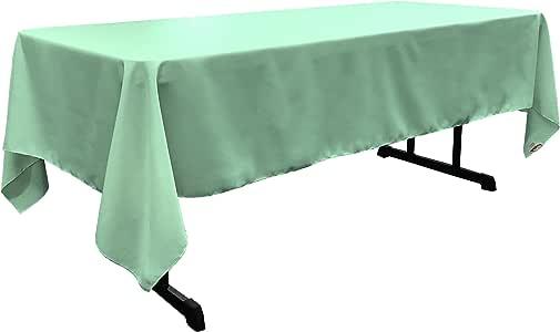 LA Linen 涤纶府绸矩形桌布,60 126 英寸 薄荷绿 TCpop60X126_TiffanyP44