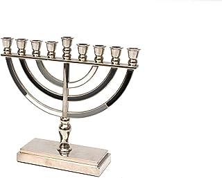 高品质 Judaica 现代黑色和灰色搪瓷烛台