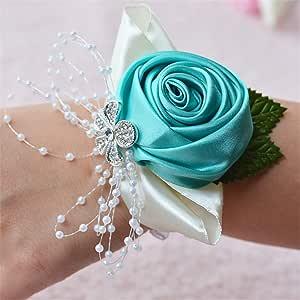 新娘伴娘 婚礼腕表 胸花 婚礼、派对、舞会 蓝绿色 2片装