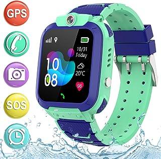 儿童智能手表 GPS 追踪电话 - 2019 新款防水儿童智能手表 1.4 英寸触摸屏 SOS 电话通话对讲机步行计步器健身运动表带 适合年龄4-12 岁男孩女孩PTH S12 GPS  S12 GPS Waterproof Blue