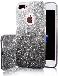 iPhone 8PLUS / iphone 7Plus 手机壳 zuslab [ Rosy Sparkle ] 闪亮奢华闪耀套双层时尚防护软橡胶弹性超轻超薄保护套适用于苹果 iPhone 8PLUS / iphone 7Plus Gradual Black