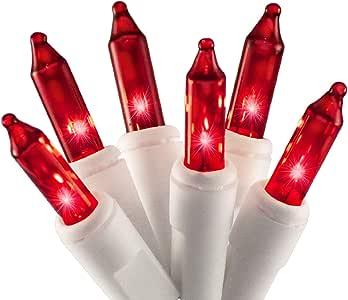 612 Vermont 白色线串上 100 盏圣诞灯,UL 认证,室内/室外使用,18 英尺照明长度,20 英尺总长度 红色 2980-23RDIB/PB
