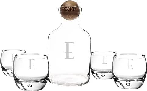 Cathy's Concepts 个性化玻璃**器,带木塞和玻璃杯套装 点击 Letter - E SCT-S1393-E