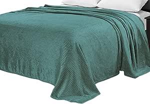 Sweet Home 系列超软毛绒细绒涤纶阿兹特克印花毯 Satin Stripe Aqua Queen S-STRIPE-BLANK-AQU-Q