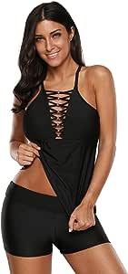 LittleLittleSky 女式性感串珠交叉分体泳衣和游泳短裤两件套泳衣 黑色 (US 18-20) XXL 410665