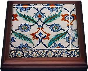 danita delimont–Tles–亚洲,土耳其,伊斯坦布尔, TOPKAPI 细节中的著名宫殿 iznik 拼贴 .–trivets 棕色 8 到 8 英寸