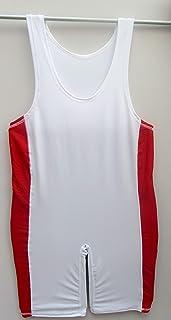 Shihan 摔跤西装莱卡-红色条纹大号紧身连衣裤,中性体操背心