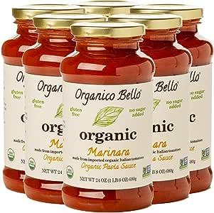 Organico Bello | Organic Gourmet Pasta Sauce | Marinara | Non-GMO | Whole30 Approved | 24oz (Pack of 6)