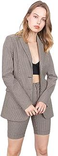 女式休闲格子西装夹克 - 可爱长袖翻领格子外套日常工作办公室西装