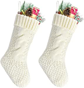 "Goege Bailey 独特*红色和象牙白针织圣诞袜 14 支装 2/4 支装 象牙色 Length 14"" unknown"