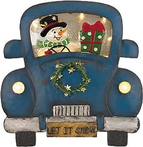 Regal Art & Gift 12469 LED 灯卡车悬挂墙饰,雪人色,红色