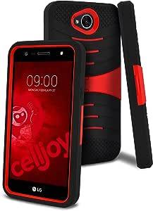 Celljoy 手机壳兼容 LG X Power 2、Fiesta LTE、LV7、K10 Power [EXO Armor](防震)硅胶握把皮套/硬 PC 外壳 - 内置支架[高云]]厚保护LG-XPR2-XO-RED 红色