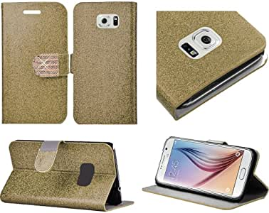 三星 Galaxy S6 闪亮 PU 皮革闪光钱包信用卡保护套WC4B-SAMS6-Gold 金色 金色