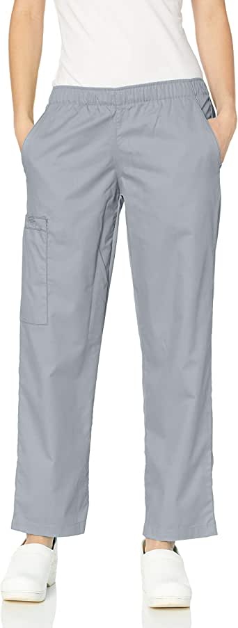 WonderWink Women's Tall Wonderwork Pull-On Cargo Scrub Pant, Grey, X-Large/Tall